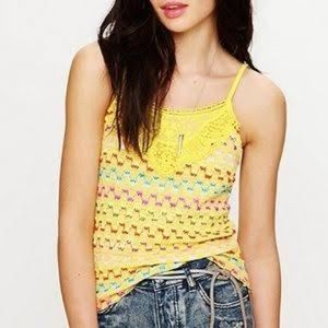 Free People | Colorful Yellow Knitted Top